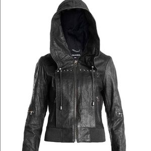 Danier Leather Hooded Leather Bomber Jacket